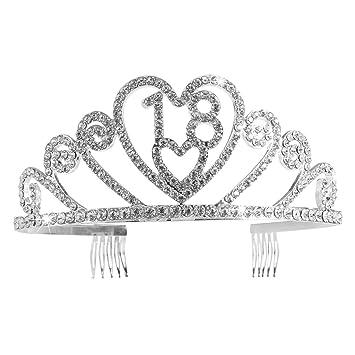 Pixnor Plata diamante cristal 18 cumpleaños Tiara Tiara ...