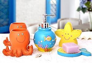 Yiyida Cute Fish Shape Bathroom Collection SET 5pcs Resin Material Child Like Home Accessory Set