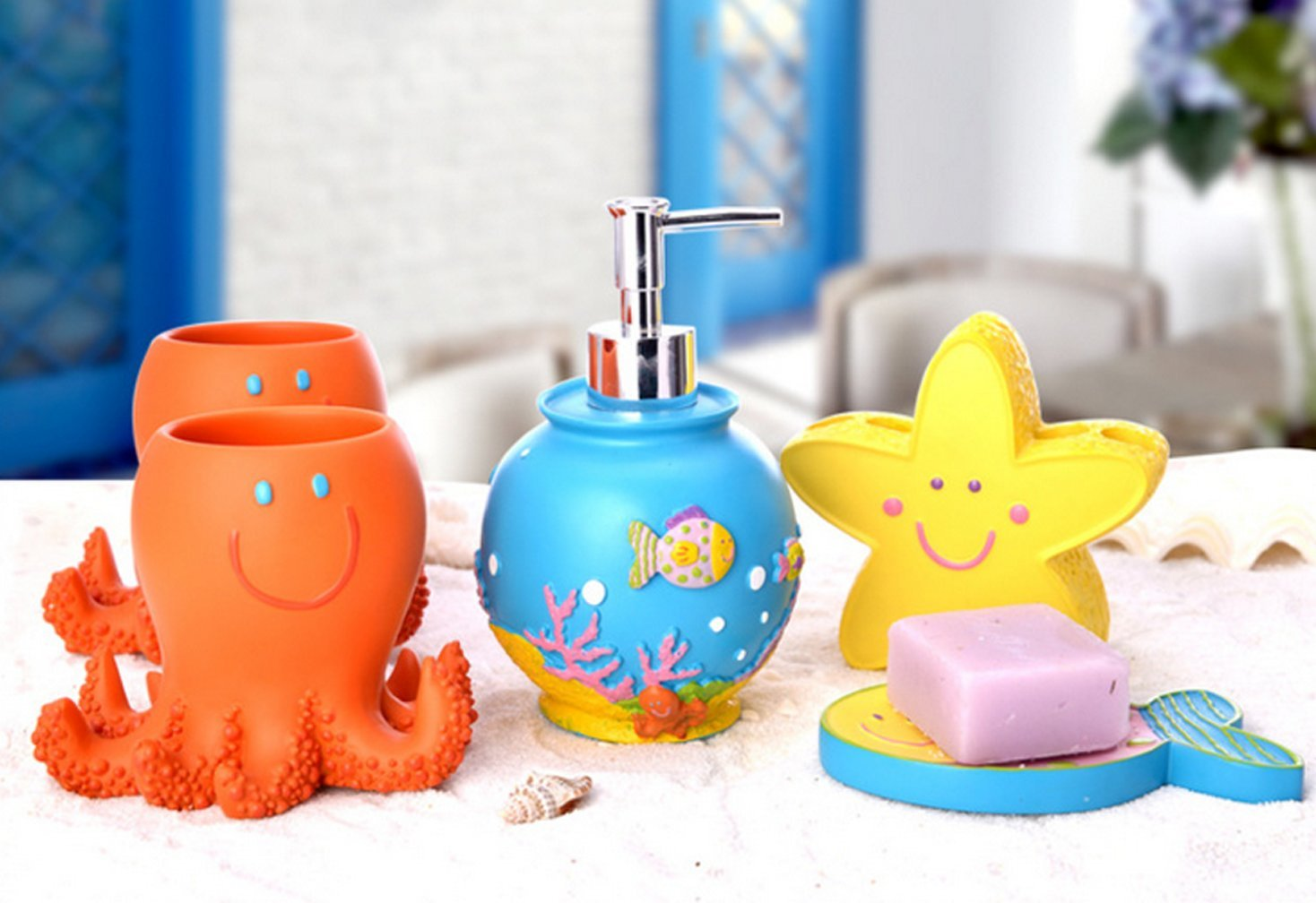 Yiyida Cute Fish Shape Bathroom Collection SET 5pcs Resin Material Child Like Home Accessory Set