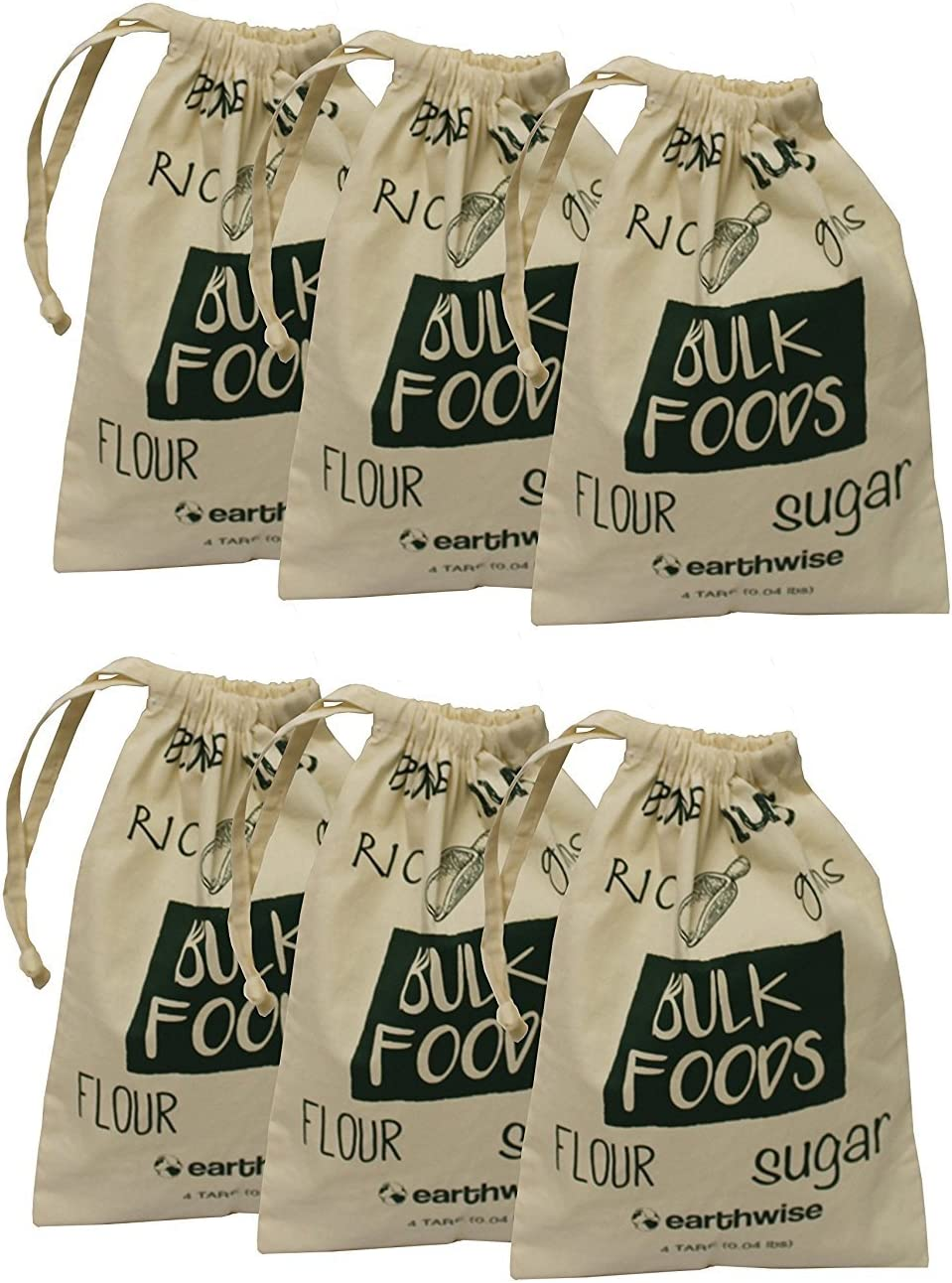 Earthwise Cotton Reusable Produce Bags for Shopping & Storage of Bulk Foods,Nuts, Grains,Rice, Flour, Sugar Produce Drawstring - Set of 6