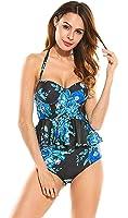 Women's Retro Antigua Floral Peplum Swimsuit High Waisted Bathing Suits Bikini