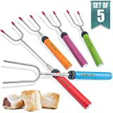 Langdeng Marshmallow Roasting Sticks,Extendable 34'' Telescoping Stainless Steel Forks,Set of 5 in Multi-color and Used in Fire Pit, Camping, Campfire, Bonfire Kids.Great for Marshmallow,Hot Dogs and