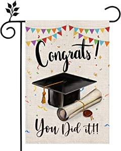 CROWNED BEAUTY Congrats You Did It Garden Flag 12×18 Inch Double Sided Vertical Diploma Cap College 2021 Graduation Yard Outdoor Decoration CF142-12