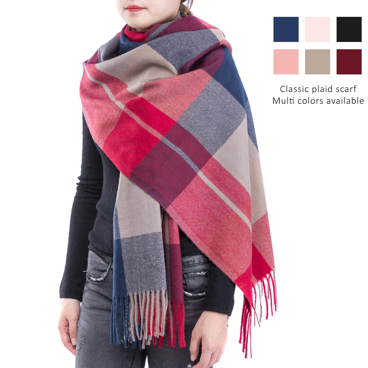 Cashmere Scarf Blanket Plaid Scarf for Women-Tartan Scarf Cashmere Wrap Deepink