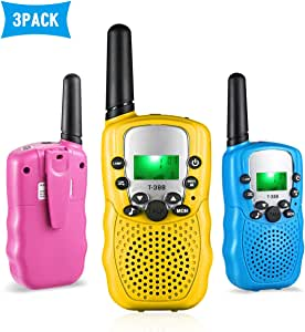 Aurho Walkie Talkies for Kids 3 Pack Gift for Girls Boys 22 Channels Two Way Radio 3 Miles Range Flashlight LCD Walkie Talkies for Outdoor Adventures, Camping, Hiking Blue/Pink/Yellow