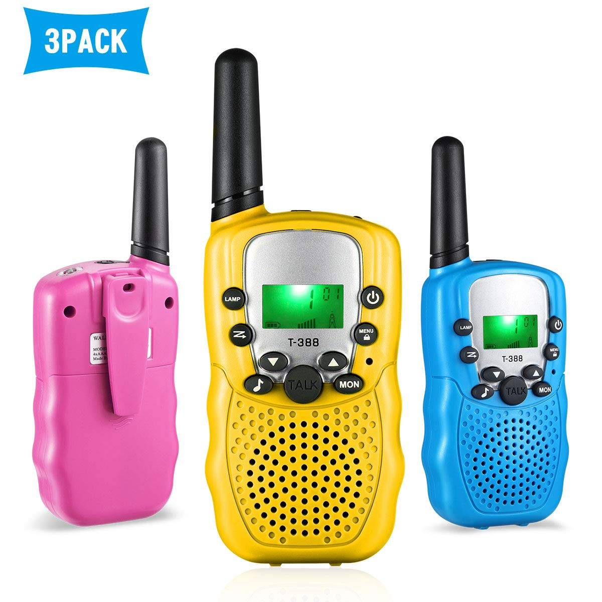 HOCOMO Walkie Talkies for Kids 3 Pack Gift for Girls Boys 22 Channels Two Way Radio 3 Miles Range Flashlight LCD Walkie Talkies for Outdoor Adventures, Camping, Hiking Blue/Pink/Yellow