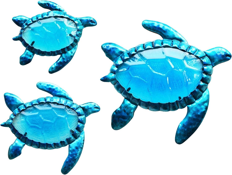 ShabbyDecor Coastal Ocean Sea Turtle Hanging Wall Art for Pool Patio Fence Décor Outdoor or Indoor Set of 3,Metallic Blue