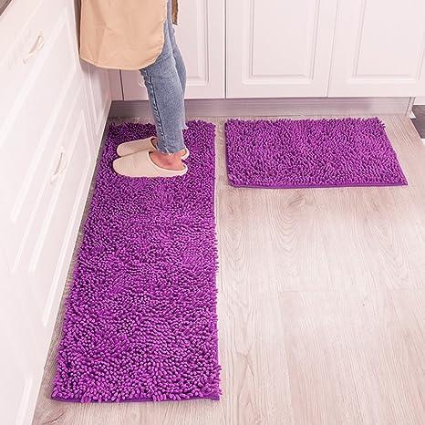 MAXYOYO Kitchen Rug 2 pieces Set, Purple Chenille Rug for Kitchen, Non Slip  Washable Runner Rug Set/Kitchen Rugs and Mats/Kitchen Floor Mat/Entryway ...