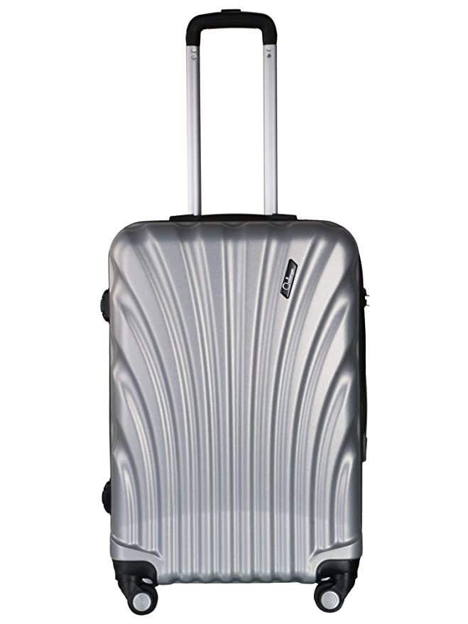 Americano Challenger Hard Sided Polypropylene Cabin Luggage Silver 20 Inch Trolley Suitcases   Trolley Bags