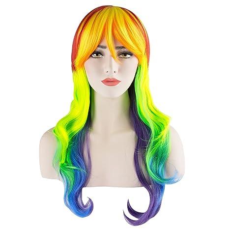 Discoball - Peluca para mujer, diseño de «Mi pequeño poni» con rayas multicolores