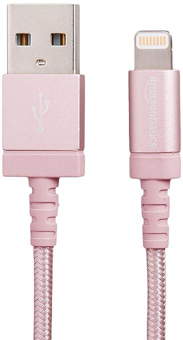 AmazonBasics Verbindungskabel Lightning-auf-USB-A, Nylon, geflochten, 1,8 m, zertifiziert von Apple, Rotgold