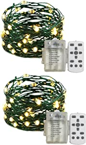 LEYOYO 2 Pack Fairy Lights Battery Operated, 16.4ft 50 LEDs Fairy Lights with Remote, Twinkle Lights with 8 Scence Modes for Bedroom, Christmas & Halloween String Lights(Warm White)