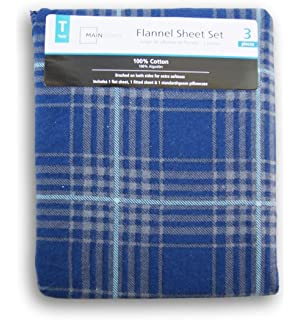 Blue Plaid Print Flannel Sheet Set - Twin