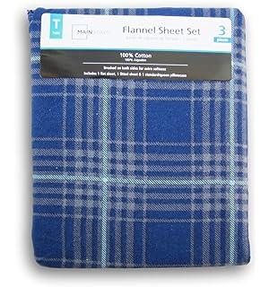 Blue Plaid Print Flannel Sheet Set - Twin