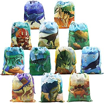 12 Pack BeeGreen Dinosaur Party Supplies Favors Bags for Kids