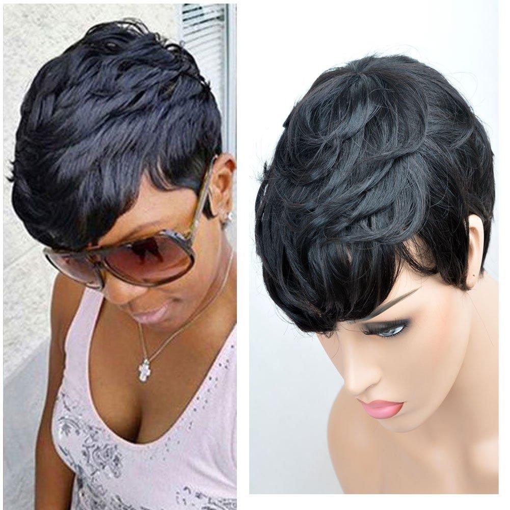 Amazon.com  SeaSense Short Layered Wavy Human Hair Black Cute Natural Curly  Wigs for Black Women 1B Color  Beauty 23257839b