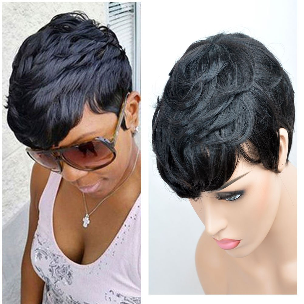 SeaSense Short Layered Wavy Human Hair Black Cute Natural Curly Wigs for Black Women 1B Color