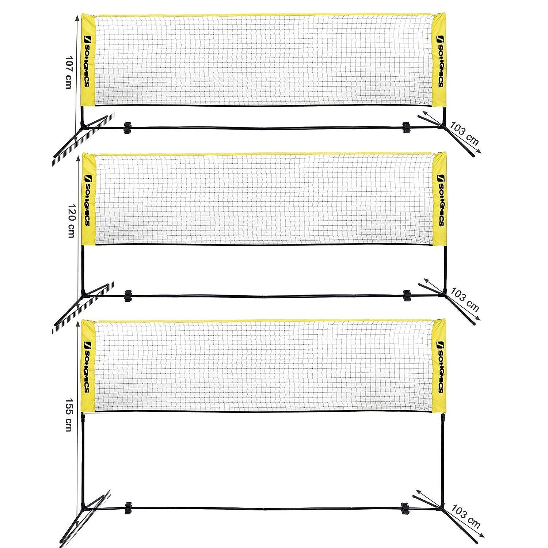 SONGMICS Red de Tenis B/ádminton de Longitud Altura Ajustable Entre 107-155 cm de Pie