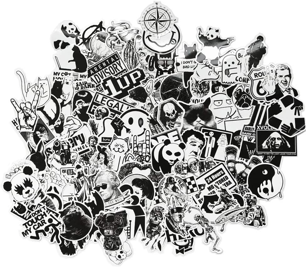 DreamerGO Graffiti Stickers 100 Pieces Black and White Smooth Car Motorcycle Bicycle Skateboard Laptop Luggage Vinyl Sticker