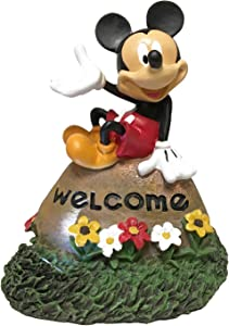The Galway Company Solar Welcome Rock Disney Mickey Mouse Welcome LED Lighted Outdoor Statue, Large 10 Inches Tall x 8 Inches Wide, Hand-Painted, Official Disney Licensed Product