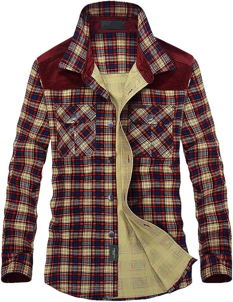 FTCayanz Mens Plaid Button Down Shirts Long Sleeve Regular Fit Shirt