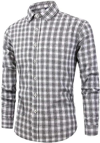 Camisa a Cuadros para Hombre NnuoeN Original Hombre Camisa Slim Fit fácil Planchado algodón Manga Larga Camisa de Manga Larga Button Down Shirts para Hombre Gris XL: Amazon.es: Ropa y accesorios