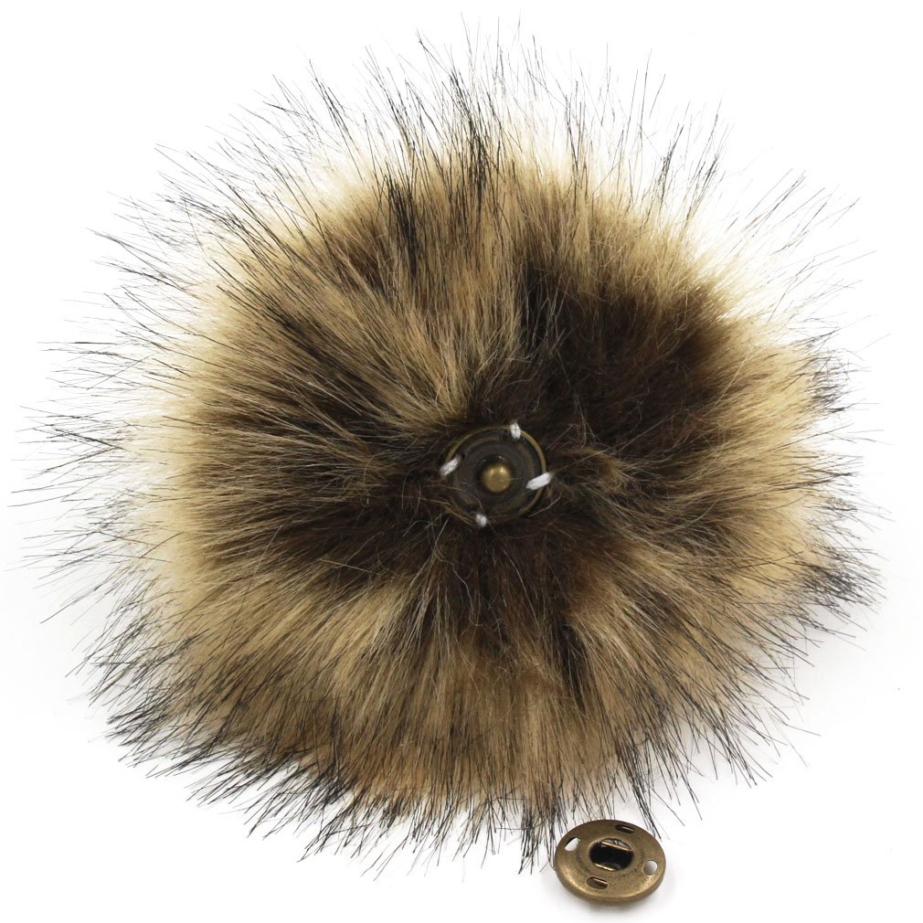 Furling Pompoms DIY 12pcs Faux Fox Fur Fluffy Pompom Ball for Knitting Hats,Bags,Keychains,Shoes,11cm(4.3