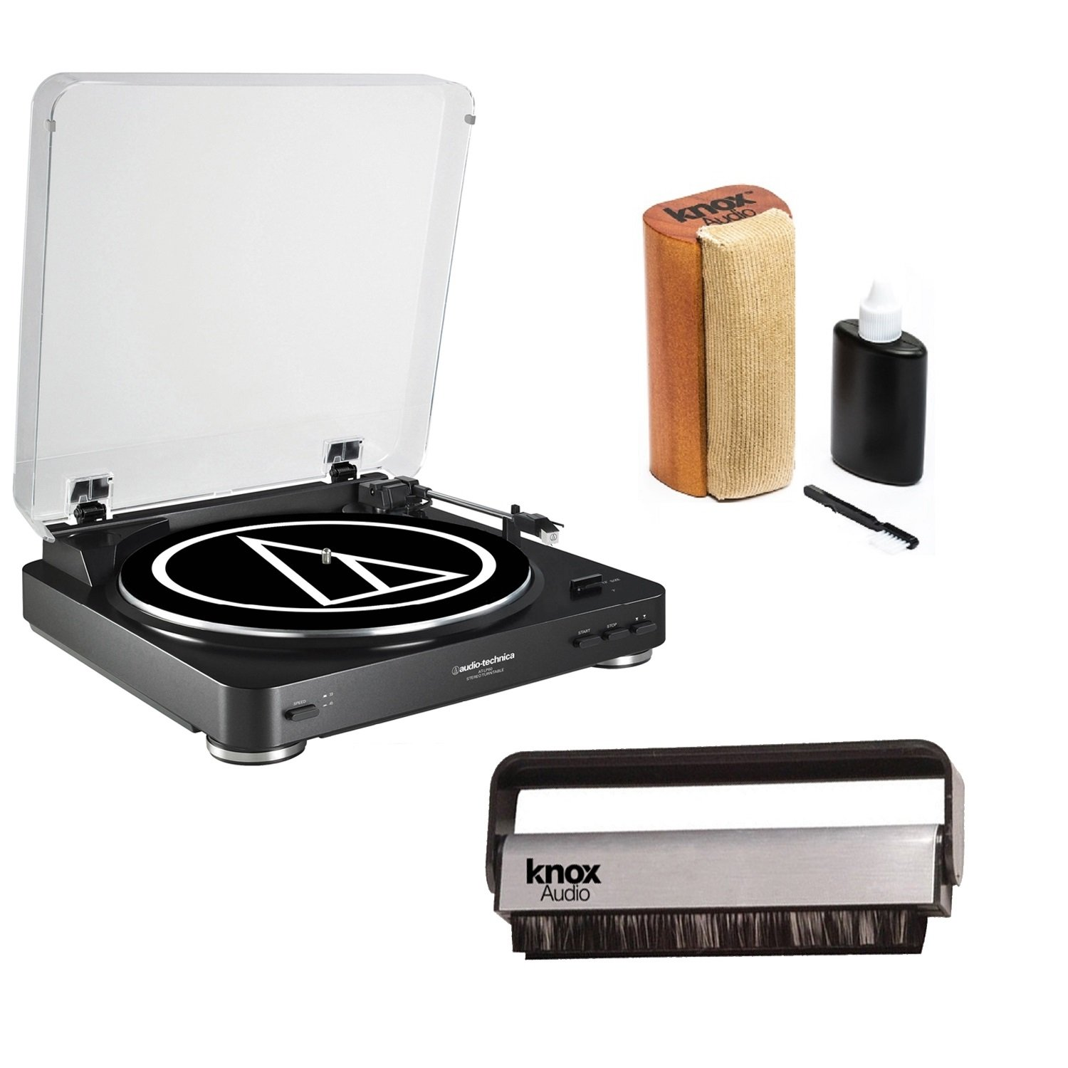 Audio Technica AT-LP60BK Turntable w/ Knox Vinyl Brush Cleaner & Cleaning Kit