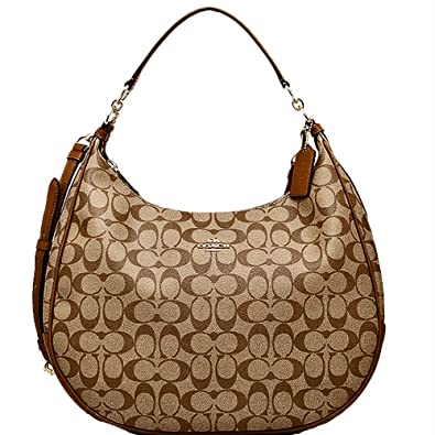 Amazon.com  SALE ! New Authentic COACH Signature Hobo Large Shoulder  Monogram Bag in Elegant Khaki Saddle  Shoes 5e5692cbdd87d