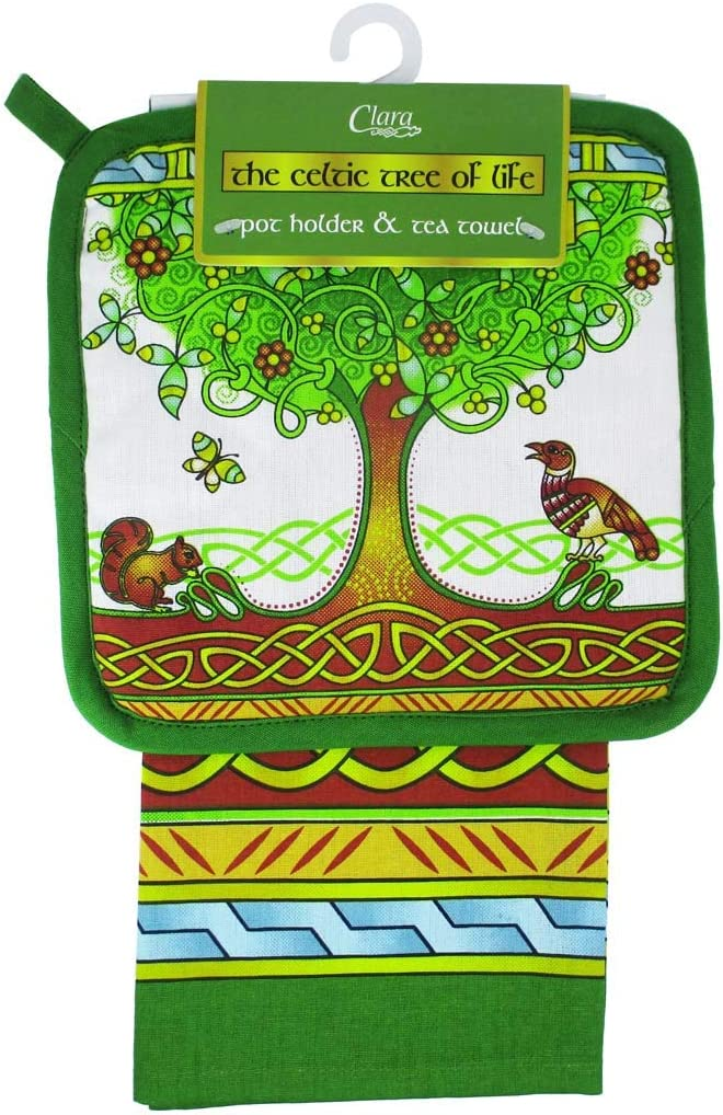 Irish Set of Tea Towel and Pot Holder - Kitchen Textiles Tree of Life 100% Cotton Hot Pad - H 22 cm W 22 cm & Dishtowel H 75 cm W 50 cm Dish Cloths Machine Washable and Highly Durable