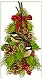 "Chickadee Hanging Christmas Holly 100% Cotton Flour Sack Dish Tea Towel - Mary Lake Thompson 30"" x 30"""