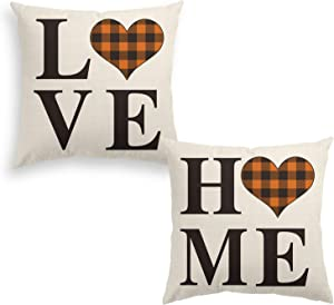 AVOIN Set of 2 Buffalo Check Plaid Love Heart Home Throw Pillow Cover, 16 x 16 Inch Brown and Black Holiday Fall Thanksgiving Farmhouse Cushion Case for Sofa Couch