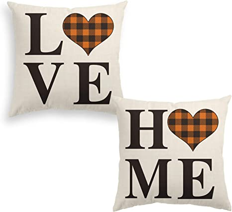 Amazon Com Avoin Set Of 2 Buffalo Check Plaid Love Heart Home Throw Pillow Cover 20 X 20 Inch Brown And Black Holiday Fall Thanksgiving Farmhouse Cushion Case For Sofa Couch Home Kitchen