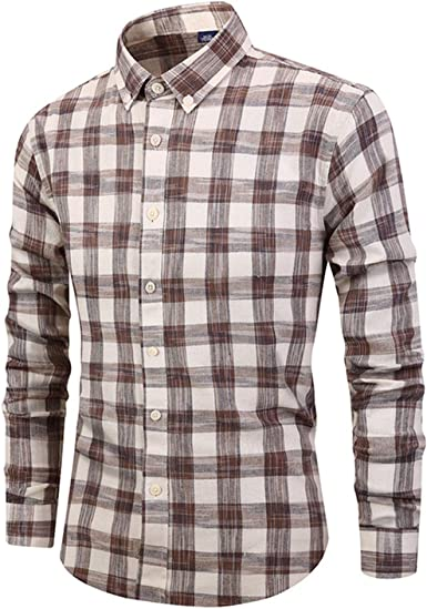 Mens Casual Shirt Autumn Long Sleeve Top Turn-Down Collar Plaid Print with Button Business Travel Special Shirt