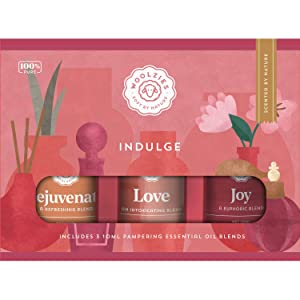 Woolzies 100% Pure Indulge Essential oil Blend Set | Rejuvenate, Love, Joy,| Highest Quality Undiluted Therapeutic Grade oils| For Diffusion Internal or Topical