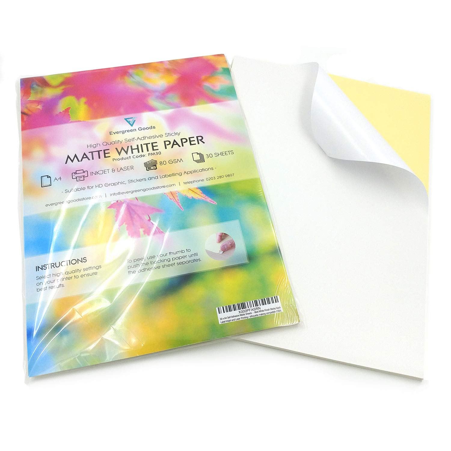 30 x A4 Self Adhesive Matte Sheets - Matt White Finish Sticky Back Label Inkjet and Laser Printing / silhouette making compatible (FBA) Evergreen Goods