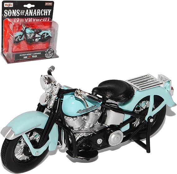 Harley Davidson 1946 FL Knucklehead John JT Teller blau Blister Sons Of Anarchy 1/18 Maisto Modell Motorrad mit oder ohne individiuellem wunschkennzeichen: Amazon.es: Juguetes y juegos