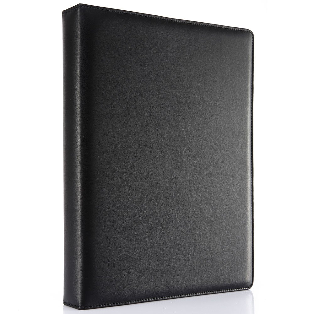 KINGFOM A4 Faux Leather Padfolio Ring Binder Business File Folder Document Holder with Card Holder (3 Ring Binder Black)