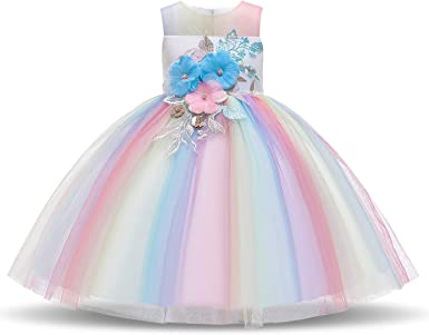 TTYAOVO Girls Lace Applique Dress Birthday Wedding Party Princess Prom Dresses