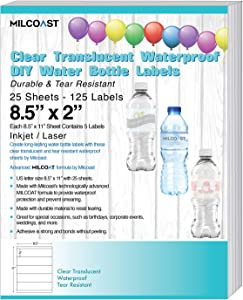 "Milcoast Glossy Clear Translucent Waterproof Tear Resistant Water Bottle Labels 8.5"" x 2"" for Inkjet/Laser Printers - 125 Labels (25 Sheets)"