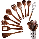Wooden Kitchen Utensils set With Utensil Holder,NAYAHOSE 11 PCS Teak Wooden Cooking Spoons and Spatula for Cooking…