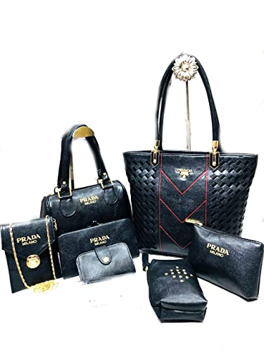 da2b0a5aba08 Mydream Prada Milano Leather Handbags for Women Set of 7 (Black 1 ...