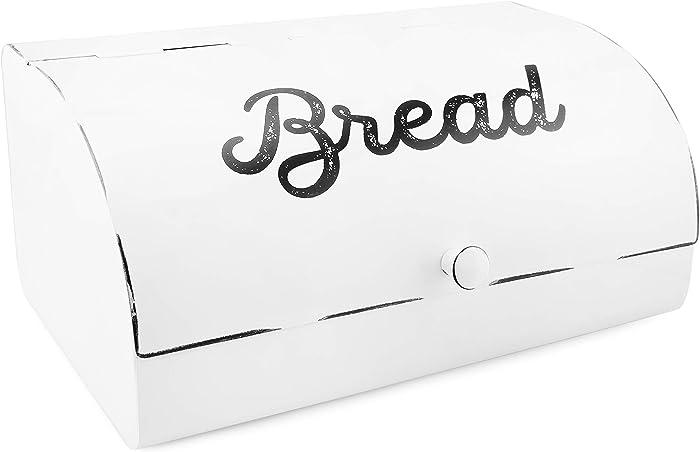 AuldHome White Bread Box; Farmhouse Vintage Enamelware Countertop Bread Bin