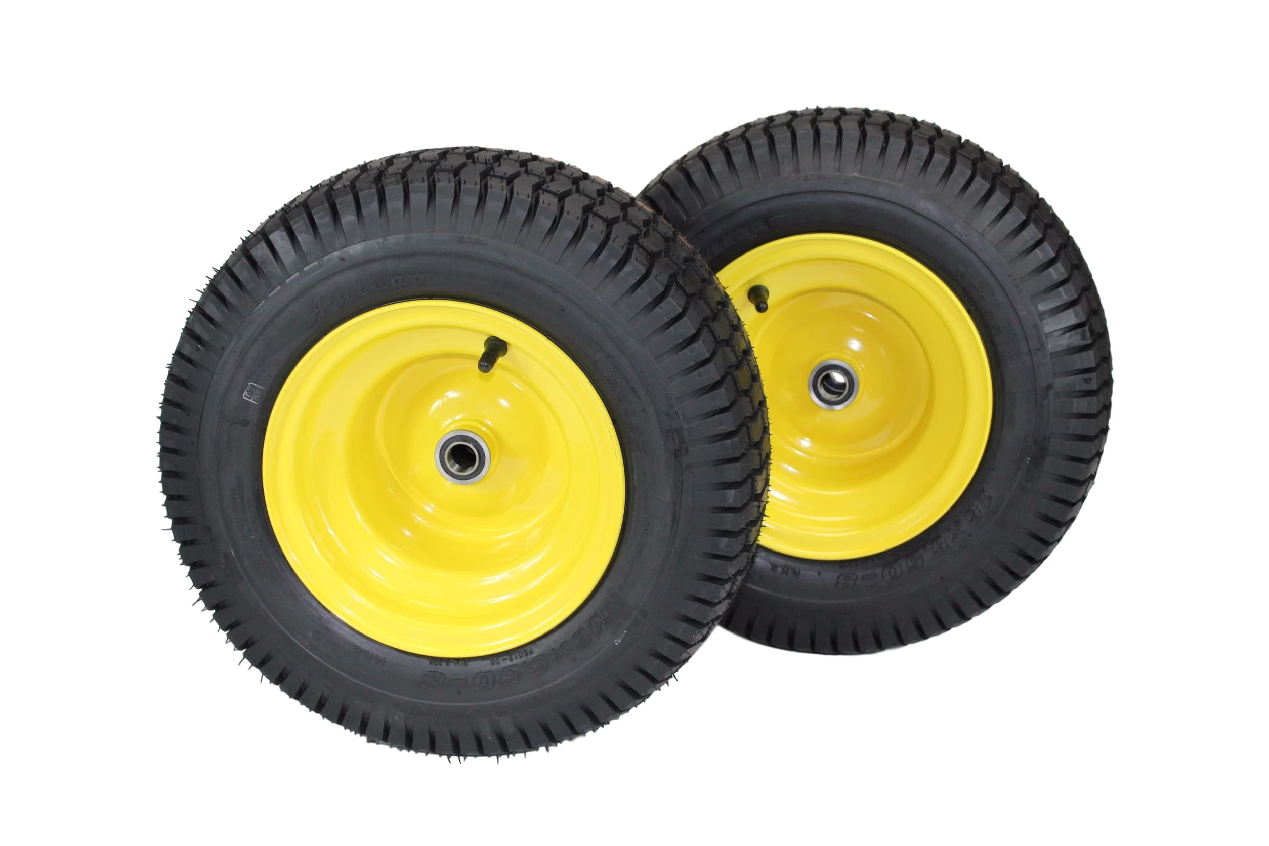 (Set of 2) 16x6.50-8 Tires & Wheels 4 Ply for Lawn & Garden Mower Turf Tires .75'' Bearing by Antego