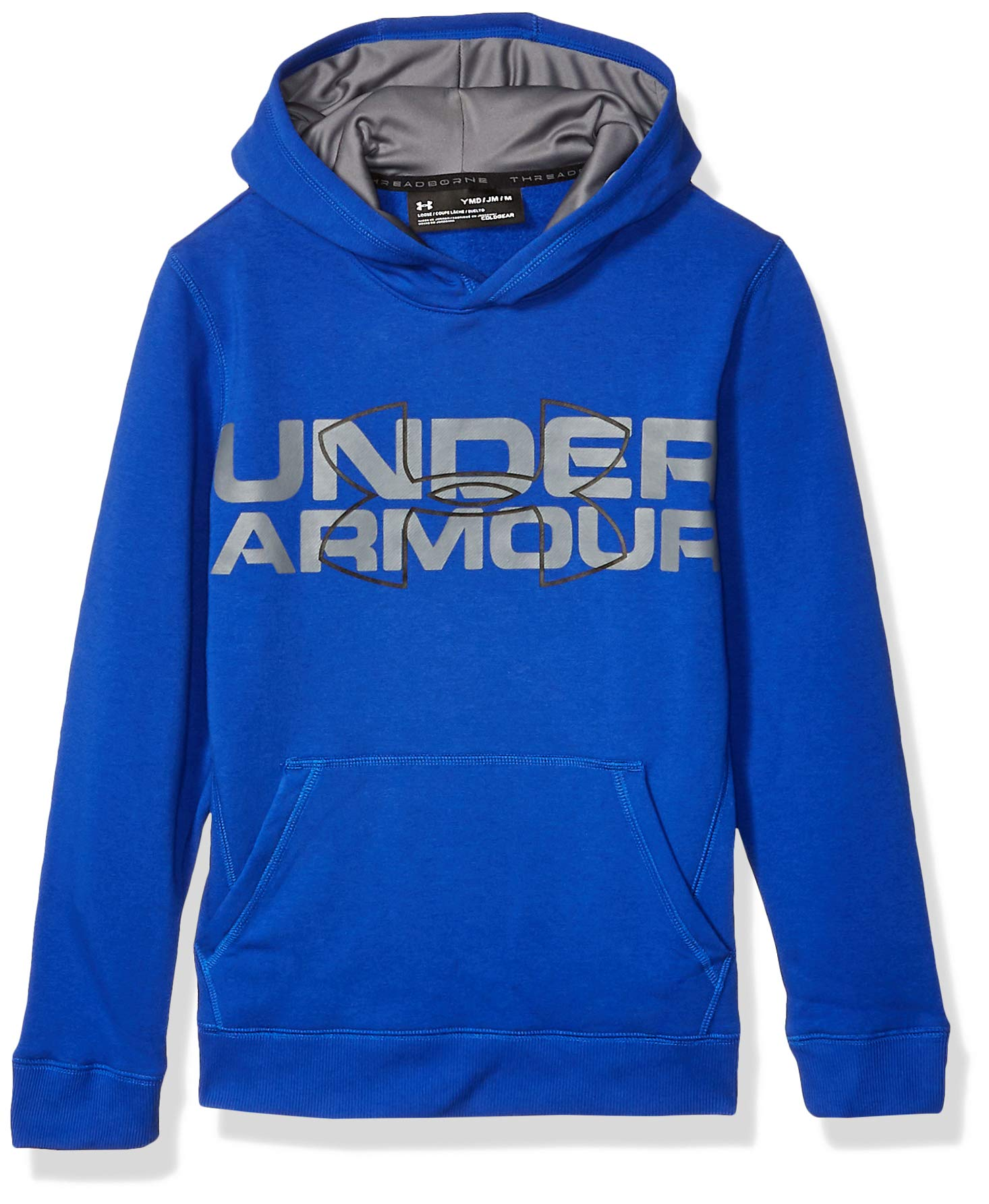 Under Armour Boys Threadborne Logo Hoodie, Ultra Blue /Black, Youth Small by Under Armour