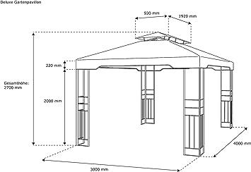 paramondo Deluxe Gazebo Pabellón de jardín Cenador Resistente al Agua, 4 x 3m, Antracita: Amazon.es: Jardín
