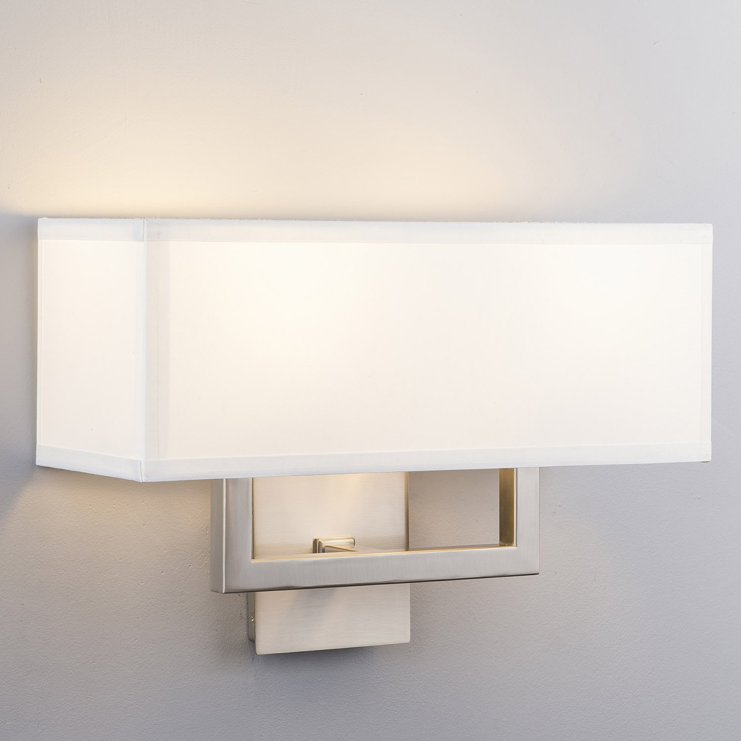 Sofia Wall Sconce 2 Light Brushed Nickel W White Fabric Shade
