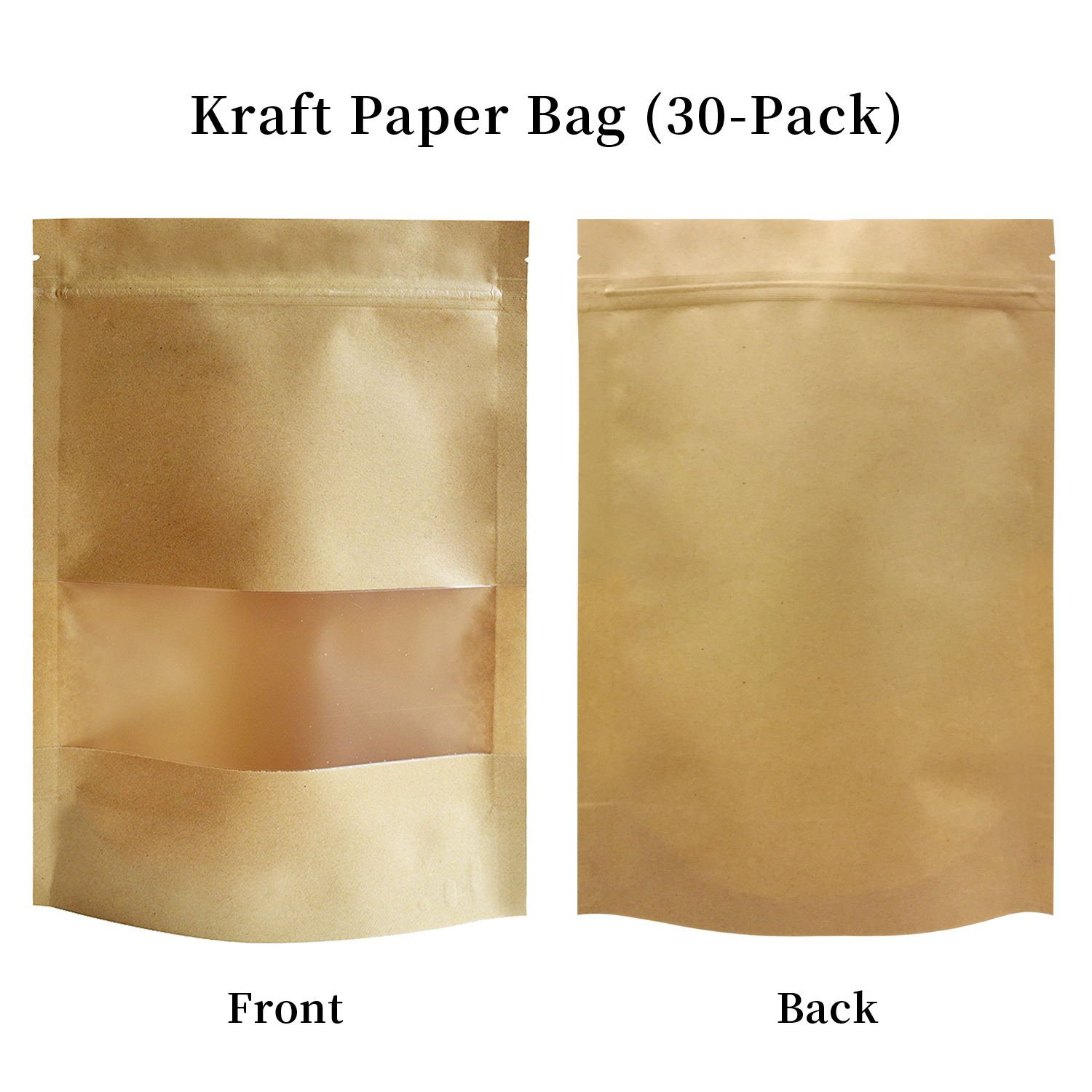 51groups Kraft Paper Bag with Transparent Window (30-Pack) Dry Food Snack Storage | Home , DIY, Commercial Use | Store Coffee , Tea Leaves , Nut, Candy | Food-Grade Safe 7'' X 10''