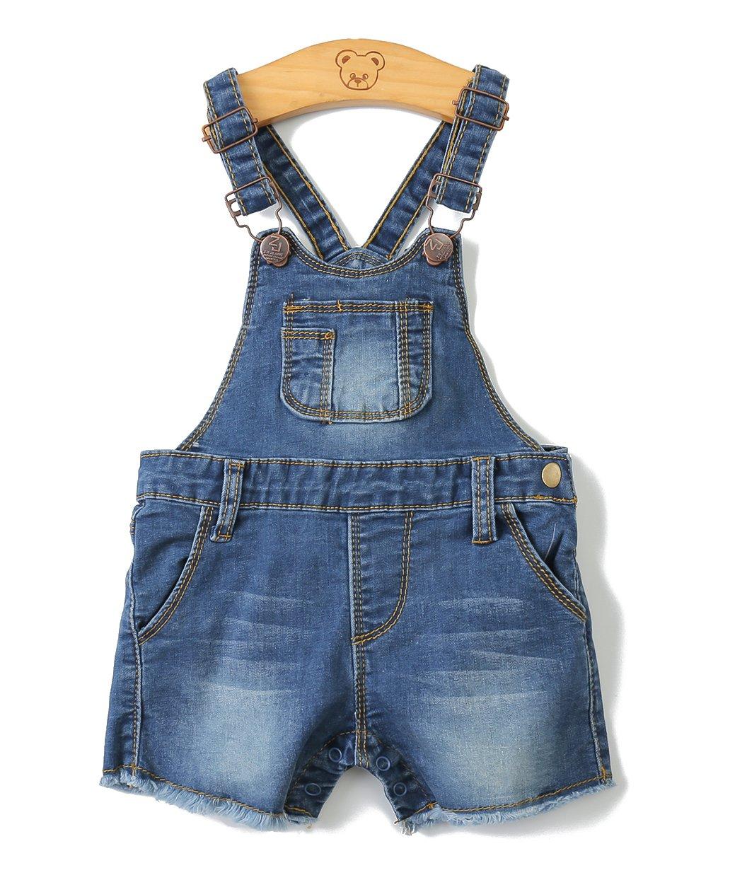 Baby Girls/Boys Big Bibs Raw Edge Light Blue Summer Jeans Shortalls,Light Blue,2-3 Years