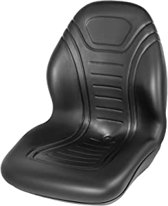 VEVOR Universal Tractor Seat Replacement, Compact High Back Mower Seat, Black Vinyl Forklift Seat, Central Drain Hole Skid Steer Seat with Mounting Bolt Patterns of 8